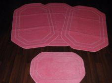 ROMANY GYPSY WASHABLES NEW PLAIN DESIGN FULL SET OF 4PCS BABY PINK MATS/RUGS